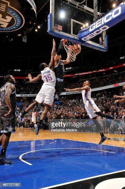 Tobias Harris of the Orlando Magic dunks the ball for the game winner against the Oklahoma City Thunder during the game on February 7 2014 at Amway...