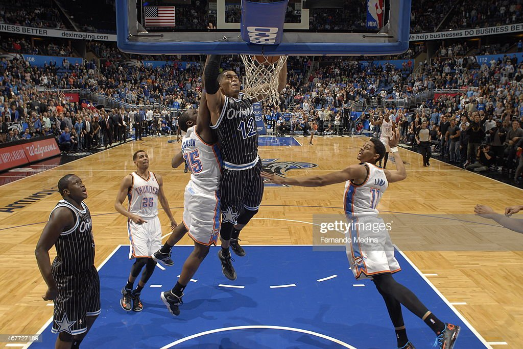 Tobias Harris #12 of the Orlando Magic dunks the ball for the game winner, against the Oklahoma City Thunder during the game on February 7, 2014 at Amway Center in Orlando, Florida.