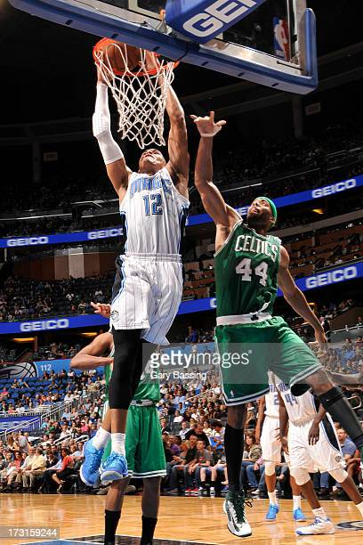 Tobias Harris of the Orlando Magic goes to the basket against Chris Wilcox of the Boston Celtics during the game between the Boston Celtics and the...