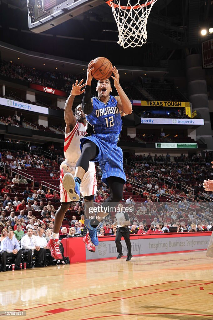 <a gi-track='captionPersonalityLinkClicked' href=/galleries/search?phrase=Tobias+Harris&family=editorial&specificpeople=6902922 ng-click='$event.stopPropagation()'>Tobias Harris</a> #12 of the Orlando Magic goes to the basket against the Houston Rockets on April 1, 2013 at the Toyota Center in Houston, Texas.