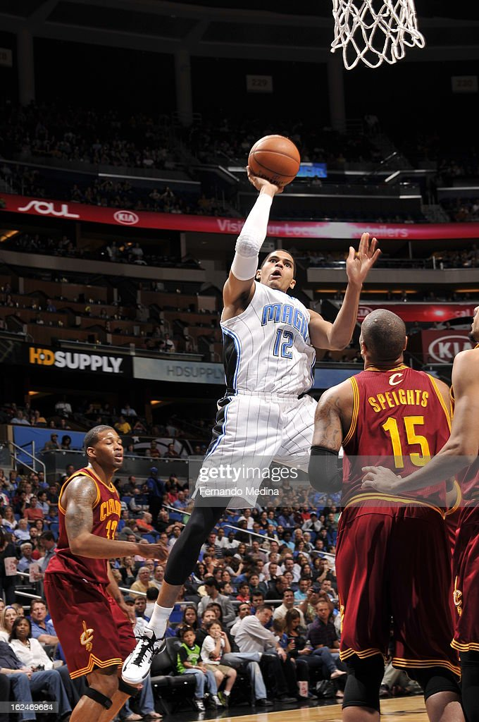 Tobias Harris #12 of the Orlando Magic goes to the basket during the game between the Cleveland Cavaliers and the Orlando Magic on February 23, 2013 at Amway Center in Orlando, Florida.