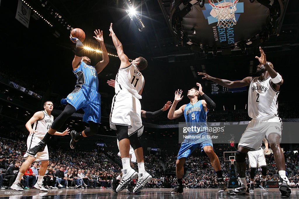 Tobias Harris #12 of the Orlando Magic goes up for a shot against the Brooklyn Nets during the game on November 9, 2014 at Barclays Center in Brooklyn, New York.