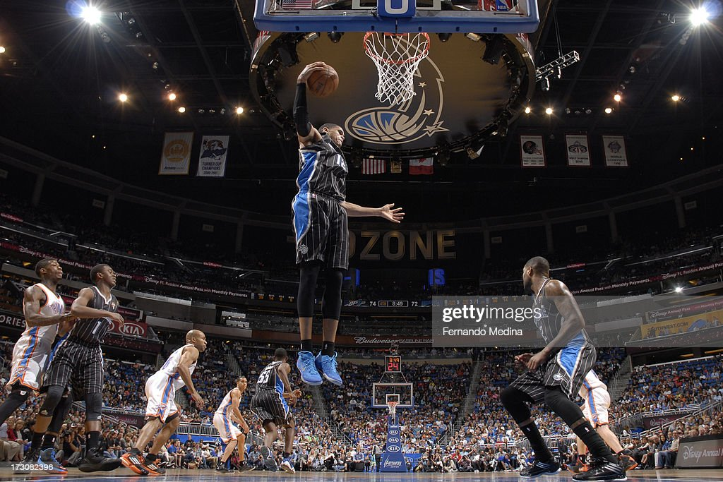 Tobias Harris #12 of the Orlando Magic grabs a rebound against the Oklahoma City Thunder on March 22, 2013 at Amway Center in Orlando, Florida.