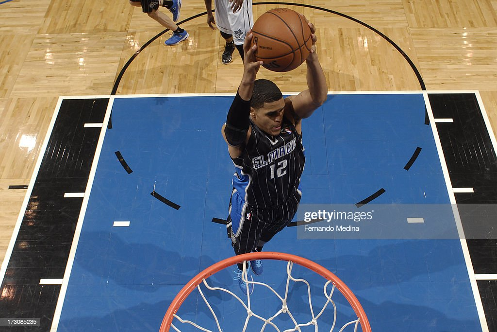 <a gi-track='captionPersonalityLinkClicked' href=/galleries/search?phrase=Tobias+Harris&family=editorial&specificpeople=6902922 ng-click='$event.stopPropagation()'>Tobias Harris</a> #12 of the Orlando Magic grabs a rebound against the Miami Heat on March 25, 2013 at Amway Center in Orlando, Florida.