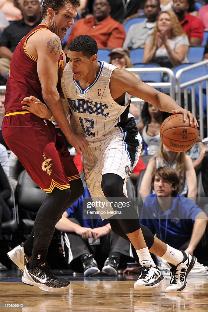 <a gi-track='captionPersonalityLinkClicked' href=/galleries/search?phrase=Tobias+Harris&family=editorial&specificpeople=6902922 ng-click='$event.stopPropagation()'>Tobias Harris</a> #12 of the Orlando Magic handles the ball against the Cleveland Cavaliers during the game on February 23, 2013 at Amway Center in Orlando, Florida.
