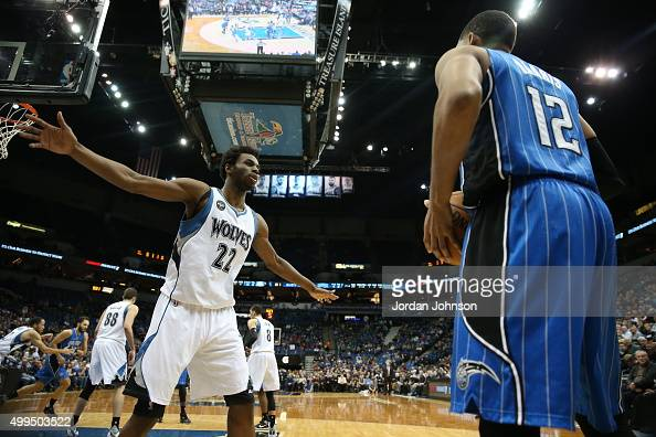 Tobias Harris of the Orlando Magic looks to move the ball against Kevin Garnett of the Minnesota Timberwolves during the game on December 1 2015 at...
