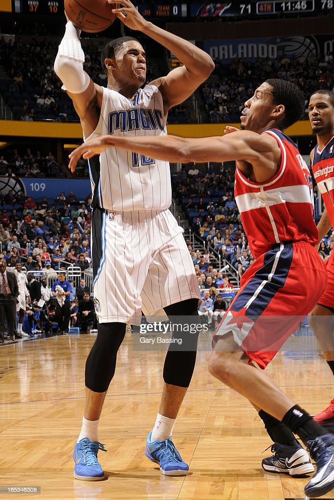 <a gi-track='captionPersonalityLinkClicked' href=/galleries/search?phrase=Tobias+Harris&family=editorial&specificpeople=6902922 ng-click='$event.stopPropagation()'>Tobias Harris</a> #12 of the Orlando Magic looks to pass the ball against the Washington Wizards on March 29, 2013 at Amway Center in Orlando, Florida.