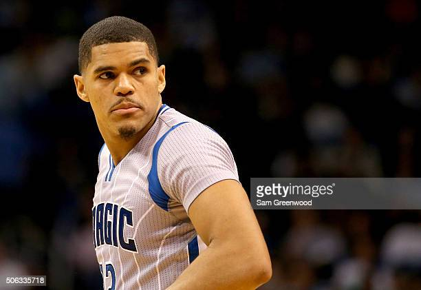 Tobias Harris of the Orlando Magic looks toward the bench during the game against the Charlotte Hornets at Amway Center on January 22 2016 in Orlando...