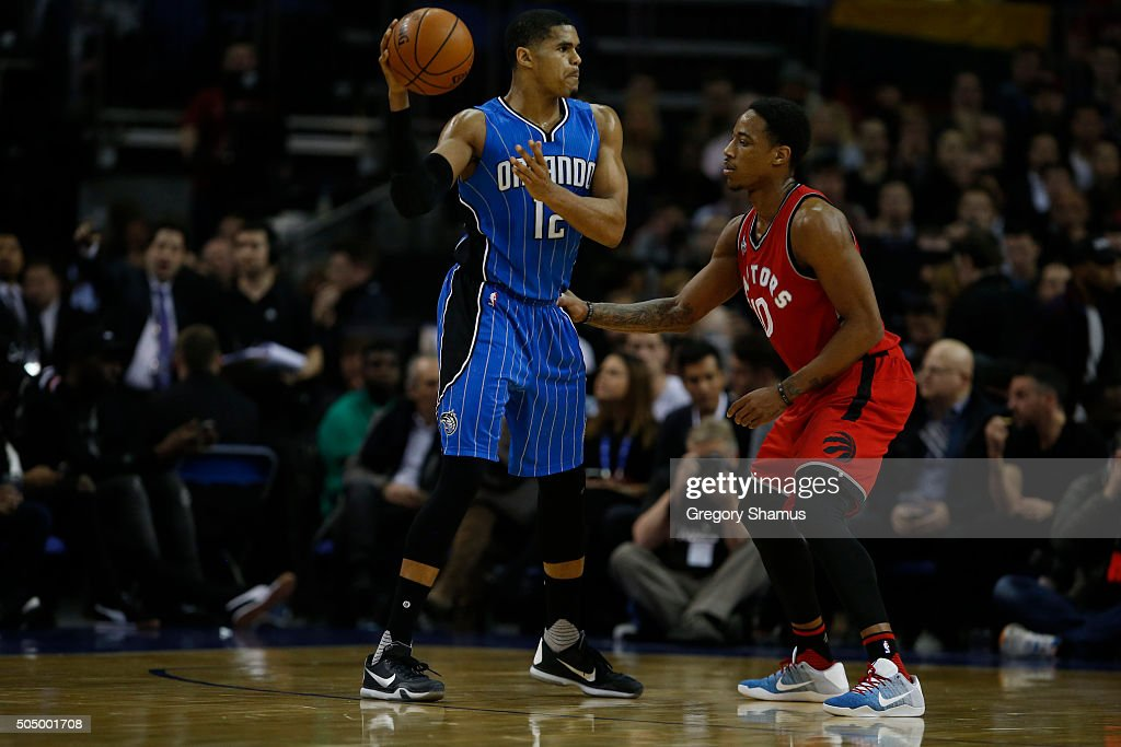 <a gi-track='captionPersonalityLinkClicked' href=/galleries/search?phrase=Tobias+Harris&family=editorial&specificpeople=6902922 ng-click='$event.stopPropagation()'>Tobias Harris</a> #12 of the Orlando Magic passes against DeMar DeRozan #10 of the Toronto Raptors as part of the 2016 Global Games London on January 14, 2016 at The O2 Arena in London, England.