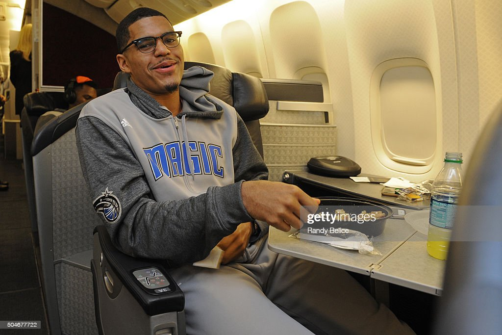 <a gi-track='captionPersonalityLinkClicked' href=/galleries/search?phrase=Tobias+Harris&family=editorial&specificpeople=6902922 ng-click='$event.stopPropagation()'>Tobias Harris</a> #12 of the Orlando Magic poses for a photo on the flight to as part of 2016 London Global Games on January 1, 2016 in London, England.