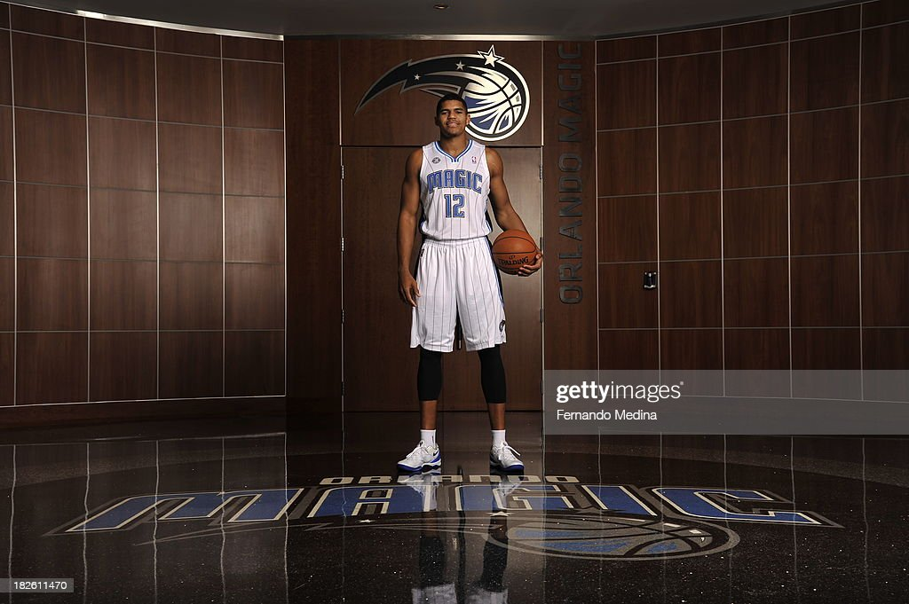 <a gi-track='captionPersonalityLinkClicked' href=/galleries/search?phrase=Tobias+Harris&family=editorial&specificpeople=6902922 ng-click='$event.stopPropagation()'>Tobias Harris</a> #24 of the Orlando Magic poses for a portrait during media day on September 30, 2013 at Amway Center in Orlando, Florida.