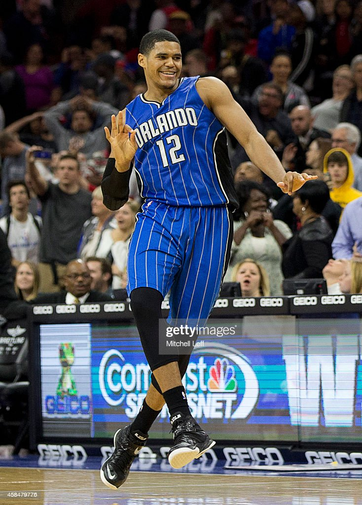 Tobias Harris #12 of the Orlando Magic reacts after making the game winning jump shot at the buzzer to defeat the Philadelphia 76ers 91-89 on November 5, 2014 at the Wells Fargo Center in Philadelphia, Pennsylvania.