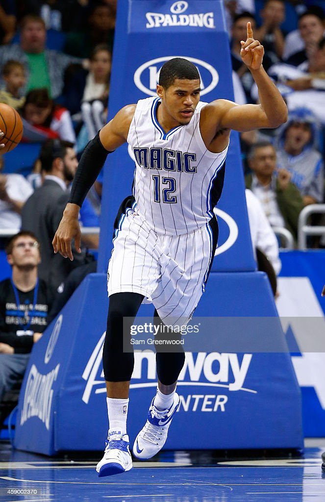 Tobias Harris #12 of the Orlando Magic reacts during the game against the Milwaukee Bucks at Amway Center on November 14, 2014 in Orlando, Florida. The Magic won the game 101-85.