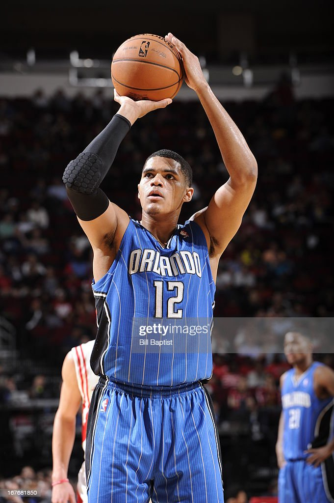 <a gi-track='captionPersonalityLinkClicked' href=/galleries/search?phrase=Tobias+Harris&family=editorial&specificpeople=6902922 ng-click='$event.stopPropagation()'>Tobias Harris</a> #12 of the Orlando Magic shoots a free throw against the Houston Rockets on April 1, 2013 at the Toyota Center in Houston, Texas.