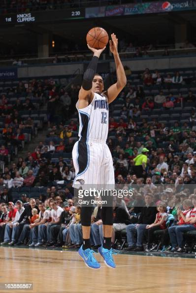 Tobias Harris of the Orlando Magic shoots against the Milwaukee Bucks on March 17 2013 at the BMO Harris Bradley Center in Milwaukee Wisconsin NOTE...