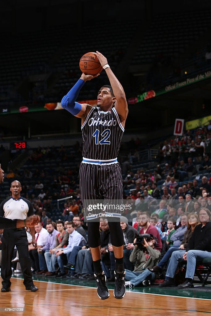 <a gi-track='captionPersonalityLinkClicked' href=/galleries/search?phrase=Tobias+Harris&family=editorial&specificpeople=6902922 ng-click='$event.stopPropagation()'>Tobias Harris</a> #12 of the Orlando Magic shoots the ball against the Milwaukee Bucks on March 10, 2014 at the BMO Harris Bradley Center in Milwaukee, Wisconsin.