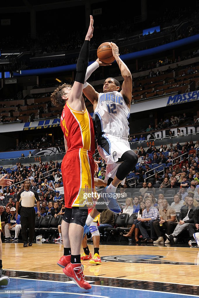 <a gi-track='captionPersonalityLinkClicked' href=/galleries/search?phrase=Tobias+Harris&family=editorial&specificpeople=6902922 ng-click='$event.stopPropagation()'>Tobias Harris</a> #12 of the Orlando Magic takes a shot against the Houston Rockets on March 1, 2013 at Amway Center in Orlando, Florida.