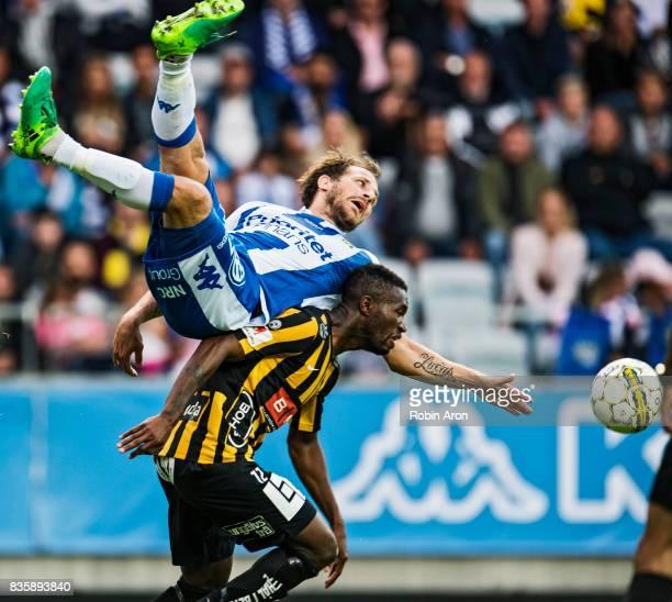 Tobias Hysen of IFK Goteborg and Mohammed Abubakari of BK Hacken battles for the ball during the Allsvenskan match between IFK Goteborg and BK Hacken...