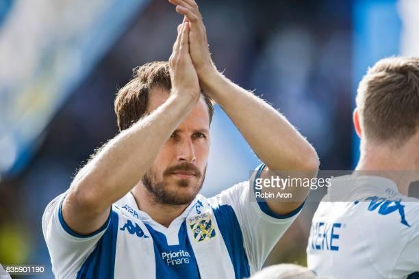 Tobias Hysen of IFK Goteborg before the Allsvenskan match between IFK Goteborg and BK Hacken at Gamla Ullevi on August 20 2017 in Gothenburg Sweden