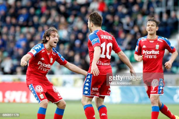Tobias Hysen of IFK Goteborg celebrates after scoring during the Allsvenskan match between GIF Sundsvall and IFK Goteborg at Idrottsparken on May 22...