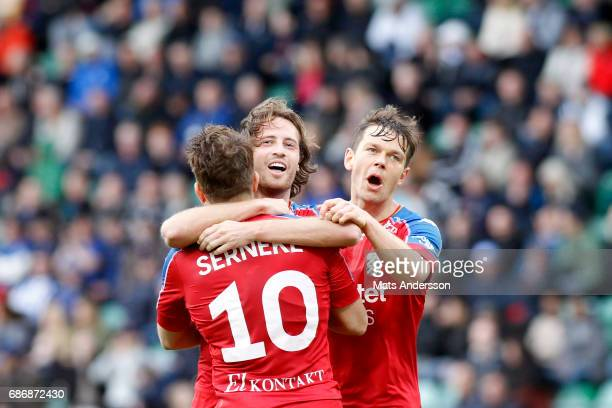 Tobias Hysen of IFK Goteborg celebrates after scoring during the Allsvenskan match between GIF Sundsvall and IFK Goteborg at Idrottsparken on May 22...