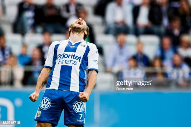 Tobias Hysen of IFK Goteborg dejected after a missed chance during the Allsvenskan match between IFK Goteborg and BK Hacken at Gamla Ullevi on August...