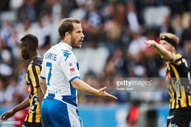 Tobias Hysen of IFK Goteborg dejected during the Allsvenskan match between IFK Goteborg and BK Hacken at Gamla Ullevi on August 20 2017 in Gothenburg...