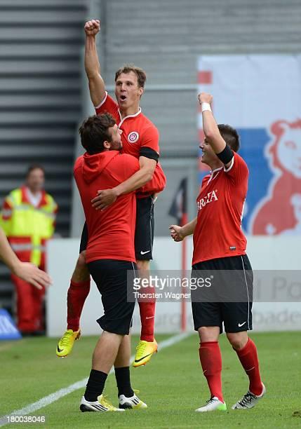 Tobias Jaenicke of Wiesbaden celebrates after scoring his teams opening goal during the Third Bundesliga match between SV Wehen Wiesbaden and MSV...