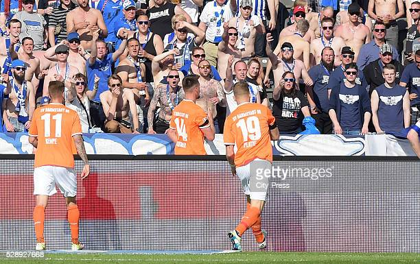 Tobias Kempe Sandro Wagner and Felix Platte of SV Darmstadt 98 celebrate after scoring the 12 during the game between Hertha BSC and SV Darmstadt 98...