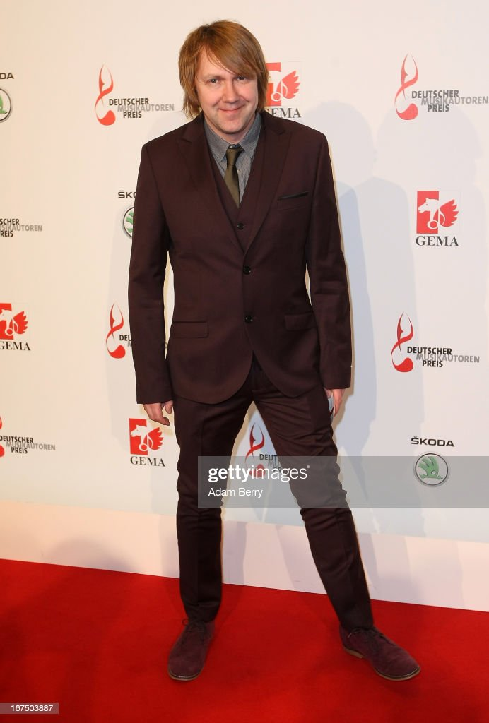 Tobias Kuenzel of the band Die Prinzen arrives for the Deutscher Musikautorenpreis (German Songwriter Prize) 2013 ceremony at the Ritz Carlton hotel on April 25, 2013 in Berlin, Germany. The prize has been presented by GEMA (Gesellschaft fuer musikalische Auffuehrungs- und mechanische Vervielfaeltigungsrechte), the German society for musical performing and mechanical reproduction rights, since 2009.