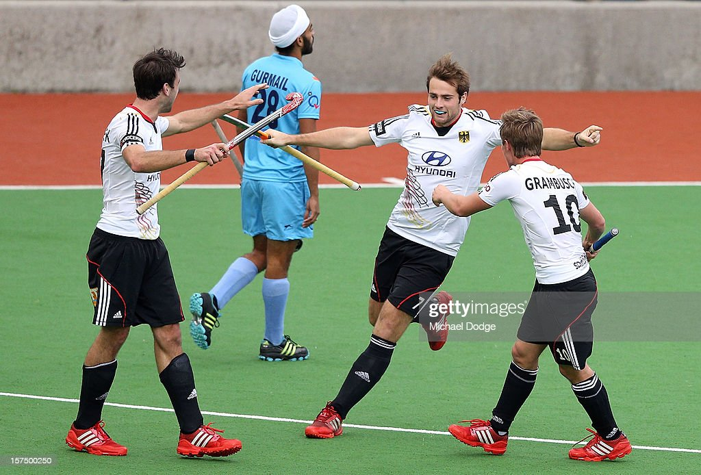 Tobias Matania of Germany celebrates his goal in the match between India and Germany during day three of the Champions Trophy at State Netball Hockey Centre on December 4, 2012 in Melbourne, Australia.