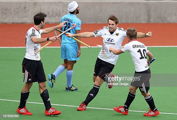 Tobias Matania of Germany celebrates his goal in the match between India and Germany during day three of the Champions Trophy at State Netball Hockey...