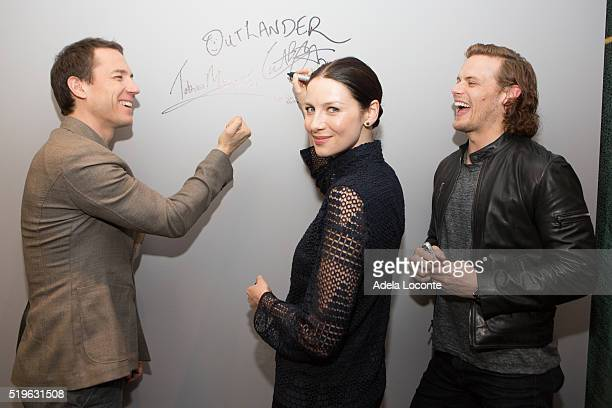 Tobias Menzies Caitriona Balfe Sam Heughan attend the 'Outlander' at AOL Studios In New York on April 7 2016 in New York City
