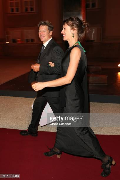 Tobias Moretti and his wife Julia Moretti attend the 'Aida' premiere during the Salzburg Opera Festival 2017 on August 6 2017 in Salzburg Austria