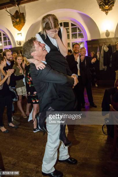 Tobias Moretti and Mavie Hoerbiger attend the 'Jedermann' premiere celebration during the Salzburg Festival 2017 on July 21 2017 in Salzburg Austria