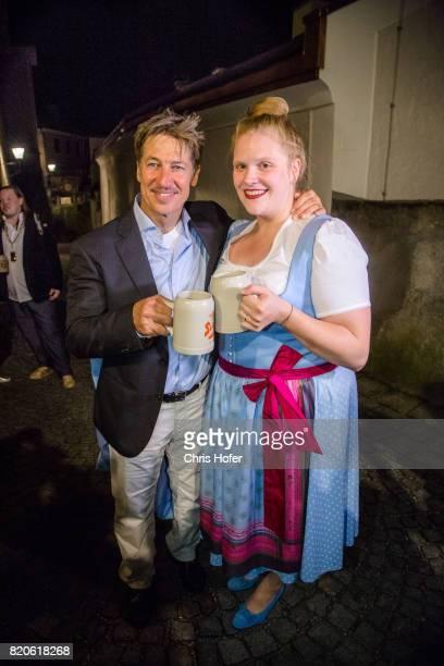 Tobias Moretti and Stefanie Reinsperger attend the 'Jedermann' premiere celebration during the Salzburg Festival 2017 on July 21 2017 in Salzburg...