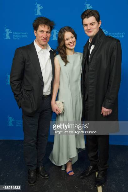 Tobias Moretti Paula Beer and Sam Riley attend 'The Dark Valley' Premiere during 64th Berlinale International Film Festival at Grand Hyatt Hotel on...