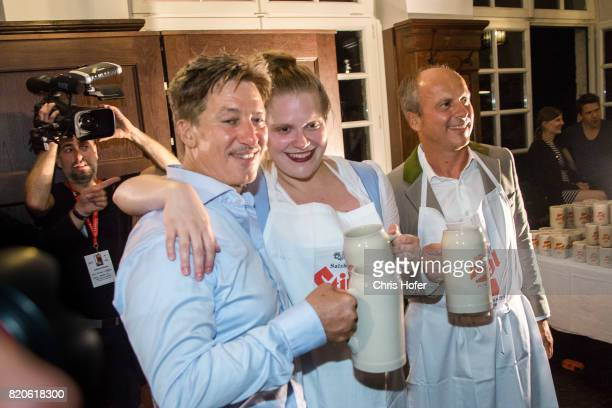 Tobias Moretti Stefanie Reinsperger and Christian Poepperl attend the 'Jedermann' premiere celebration during the Salzburg Festival 2017 on July 21...