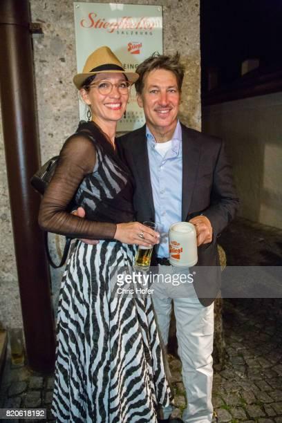 Tobias Moretti with his wife Julia attend the 'Jedermann' premiere celebration during the Salzburg Festival 2017 on July 21 2017 in Salzburg Austria