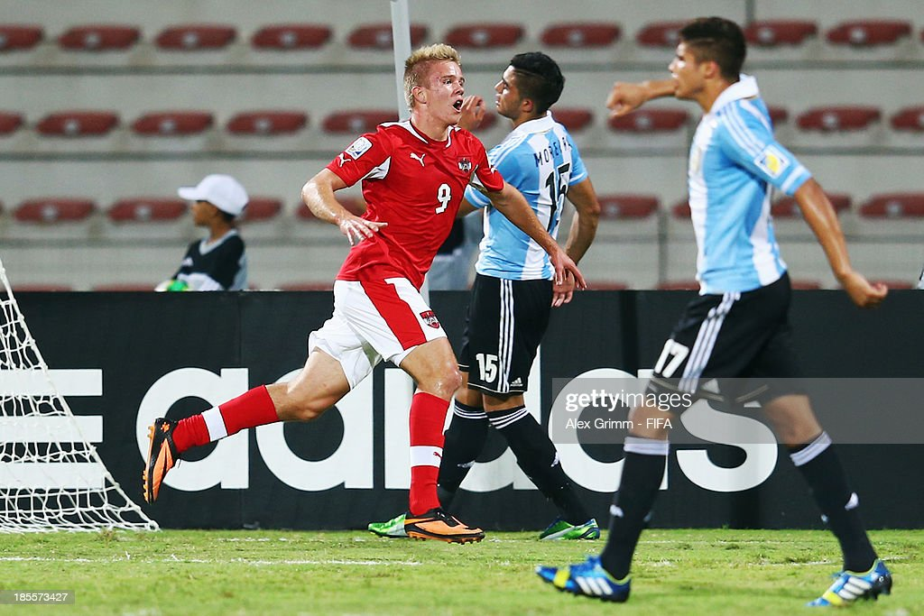 Tobias Pellegrini of Austria celebrates his team's second goal during the FIFA U-17 World Cup UAE 2013 Group E match between Argentina and Austria at Al Rashid Stadium on October 22, 2013 in Dubai, United Arab Emirates.