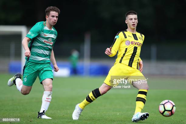 Tobias Raschl of Dortmund in action during B Juniors German Championship Semi Final between Werder Bremen and Borussia Dortmund on June 7 2017 in...