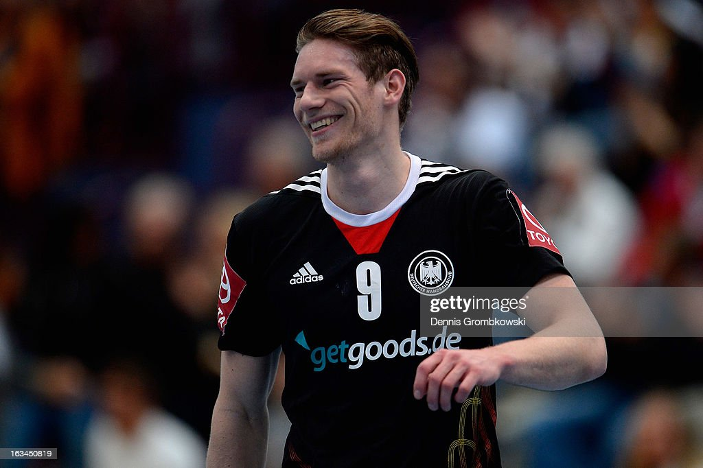Tobias Reichmann of Germany celebrates during the DHB International Friendly match between Germany and Switzerland at Conlog-Arena on March 10, 2013 in Koblenz am Rhein, Germany.