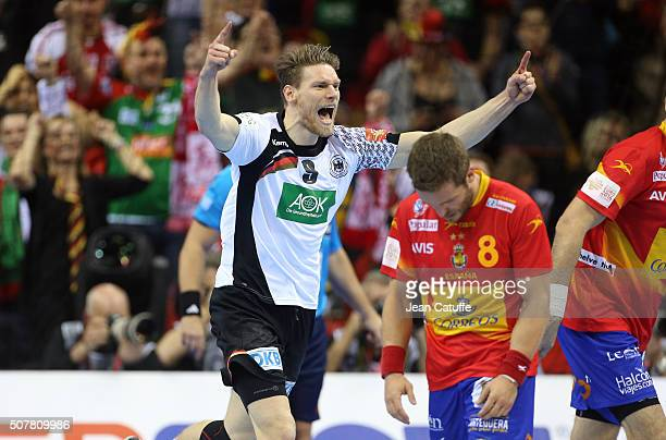 Tobias Reichmann of Germany celebrates scoring a goal during the Gold Medal match the final of the Men's EHF European Handball Championship 2016...