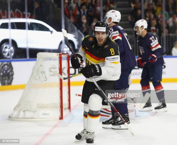 Tobias Rieder of Germany celebrates scoring the first goal during the 2017 IIHF Ice Hockey World Championship game between USA and Germany at Lanxess...