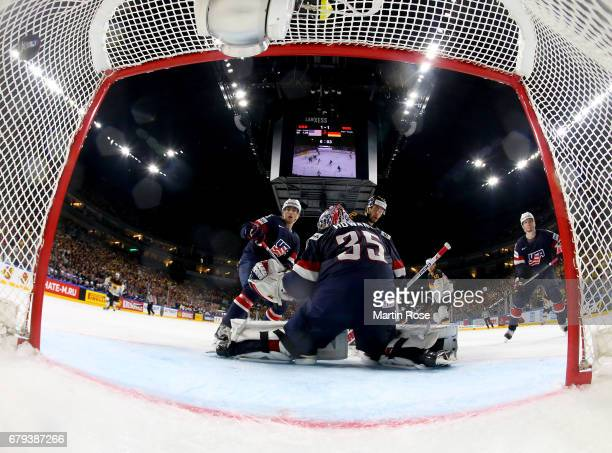 Tobias Rieder of Germany scores the opening goal during the 2017 IIHF Ice Hockey World Championship game between USA and Germany at Lanxess Arena on...