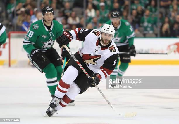 Tobias Rieder of the Arizona Coyotes at American Airlines Center on October 17 2017 in Dallas Texas