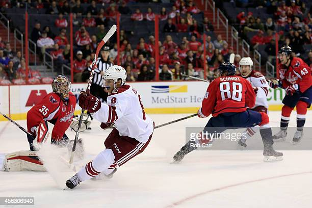Tobias Rieder of the Arizona Coyotes celebrates after scoring his first career NHL goal in the third period against the Washington Capitals at...