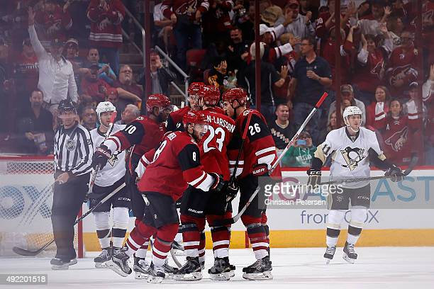 Tobias Rieder of the Arizona Coyotes celebrates with teammates after Rieder scored a second period goal against the Pittsburgh Penguins during the...