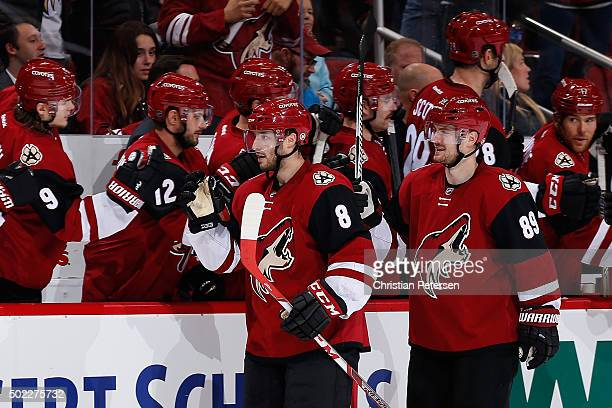 Tobias Rieder of the Arizona Coyotes celebrates with teammates on the bench after scoring a goal against the Columbus Blue Jackets during the NHL...