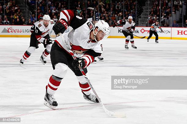 Tobias Rieder of the Arizona Coyotes controls the puck against the Colorado Avalanche at Pepsi Center on March 7 2016 in Denver Colorado The...